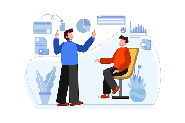 Business man presenting to client illustration
