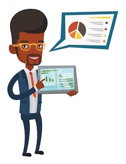 Бизнесмен представляя отчет на планшете.