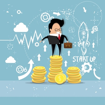 Business man project successful startup earn money