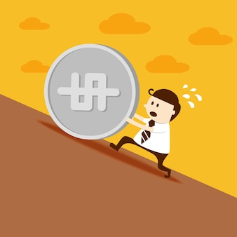 Business man push dollar coin up