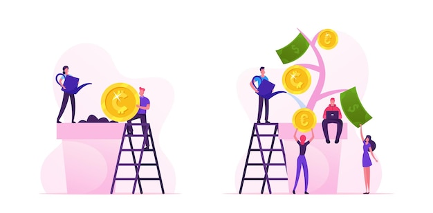 Business man put coin in soil, woman watering plant in pot. characters collecting golden coins and banknotes from money tree financial profit investment banking income cartoon flat vector illustration