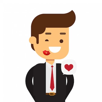 Business man and red lipstick kiss marks on face