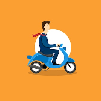 Business man ride motorcycle scooter flat