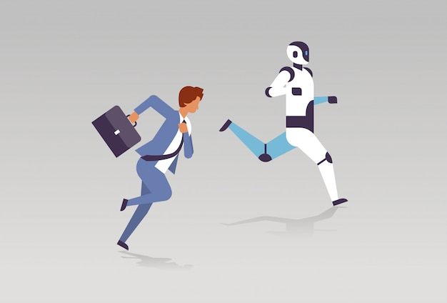 Business man and robot running artificial intelligence technology competition