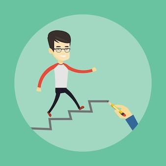 キャリアのはしごを実行しているビジネスの男性。