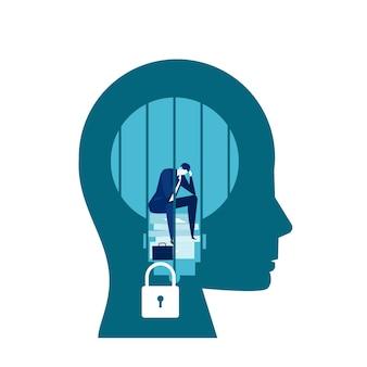 悲しいビジネスの男性は座っていると叫んでいる頭の刑務所で固定された考え方の概念で泣いています。