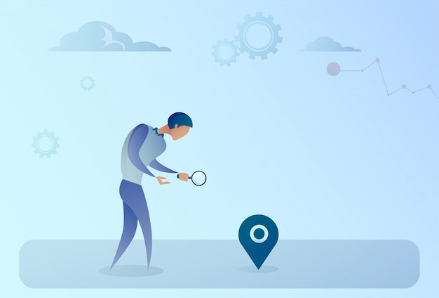 Business man searching for destination on digital city map gps navigation concept