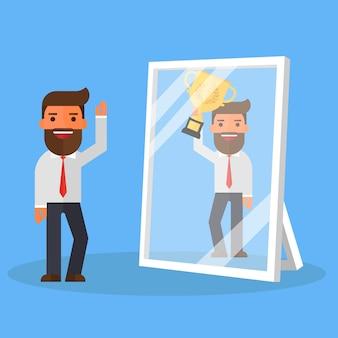 Деловой человек видит себя успешным в зеркале