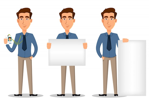 Business man, set of 3 poses