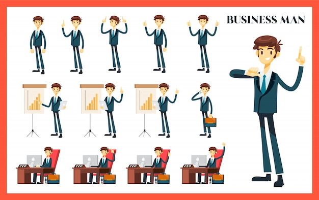 Business man set with variation of pose