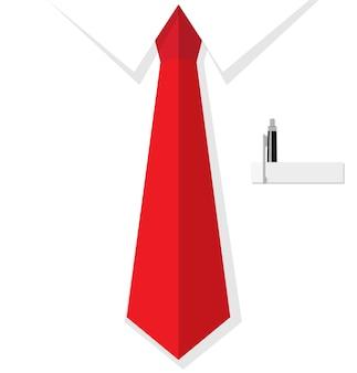 赤いネクタイとポケットにペンでビジネス男シャツ