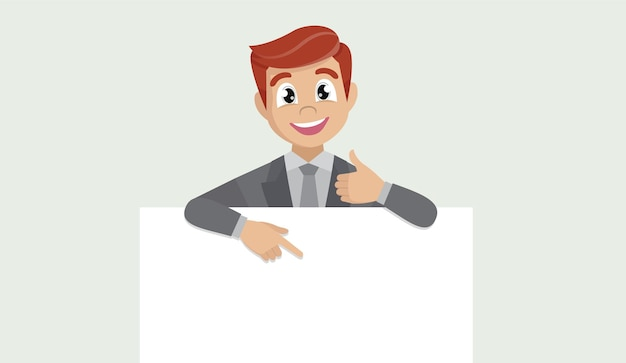 Business man showing blank poster, pointing finger and gesturing thumbs up sign.
