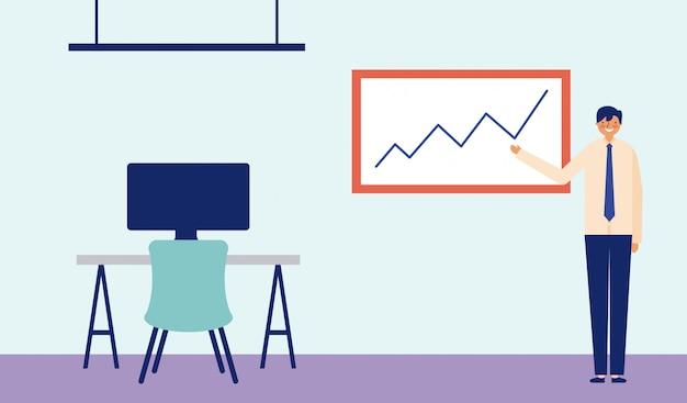 Деловой человек показывает статистику или графические диаграммы, стол с письменным столом рядом с ним