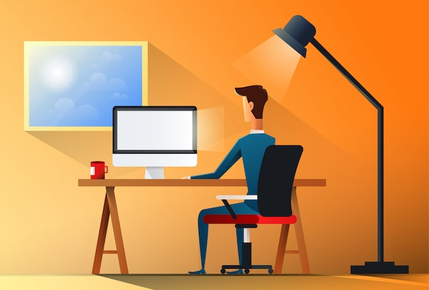 Business man sitting desk office working place laptop back rear view illustration