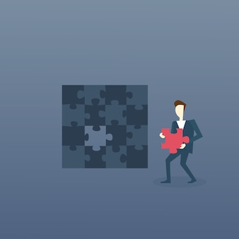 Business Man Solve Puzzle
