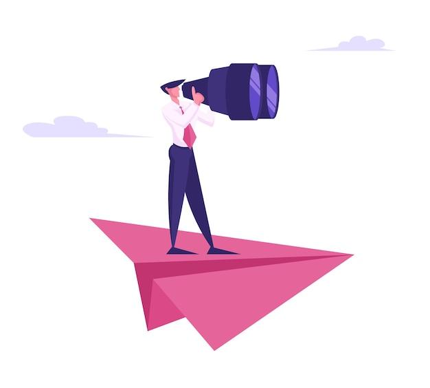 Business man stand on huge paper airplane watching to binoculars