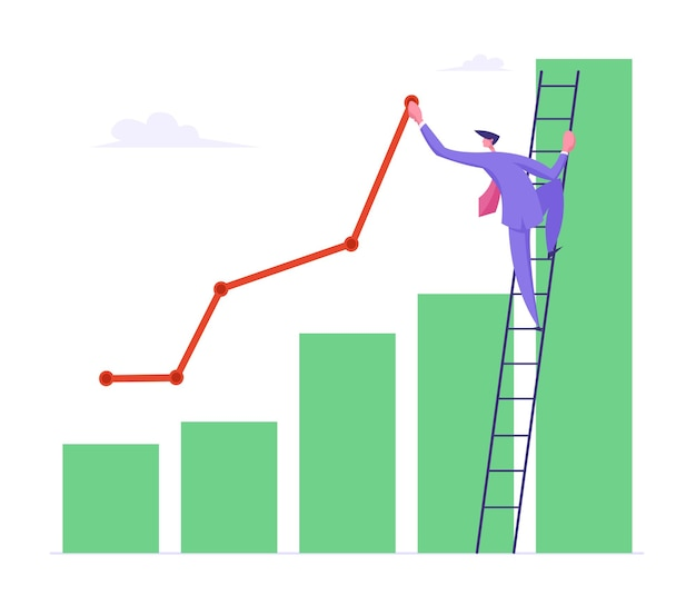 Business man stand on ladder lean to column flat illustration