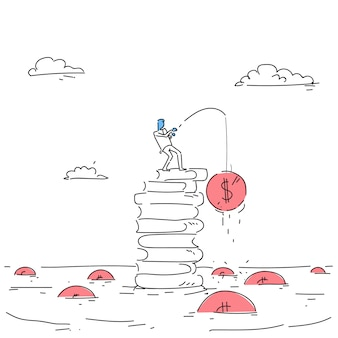 Business man standing on books stack fishing money strategy success education intelligence concept