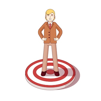 Business man standing on the center of aim target