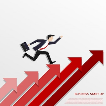 A business man steps up stairs to successful