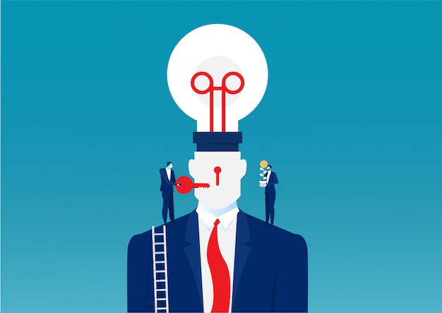 Business man in a suit holding a light bulb on top head human chang idea concept