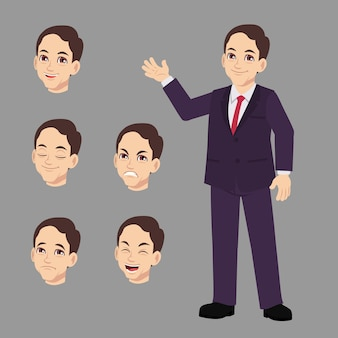 Business man suits with difference face expression