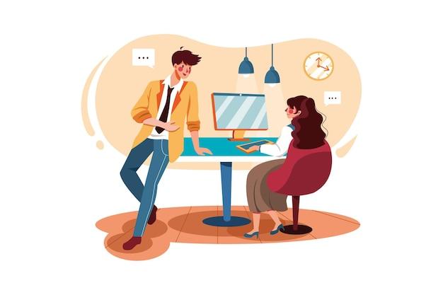 Деловой человек разговаривает с сотрудником леди в офисе