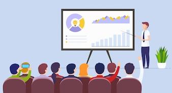 Business man teacher holds a lecture on e-commerce marketing illustration Premium Vector