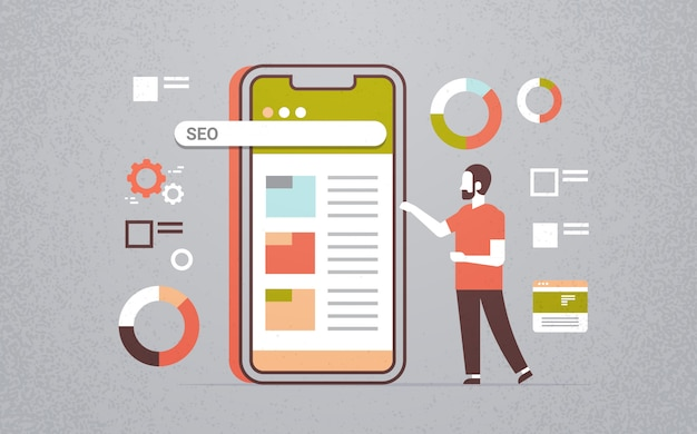 Business man using mobile application seo search engine