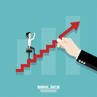 Business man walking on the red arrow stairs
