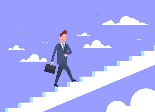 Business man walking stairs up businessman career development concept