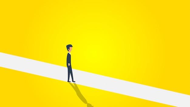 Business man walking on a white path