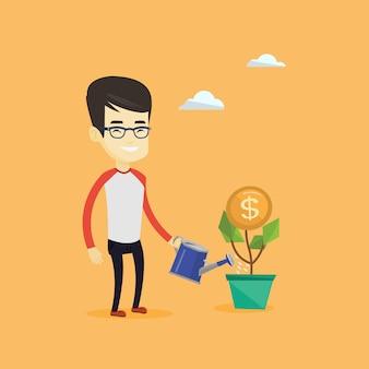 お金の花に水をまくビジネス男。