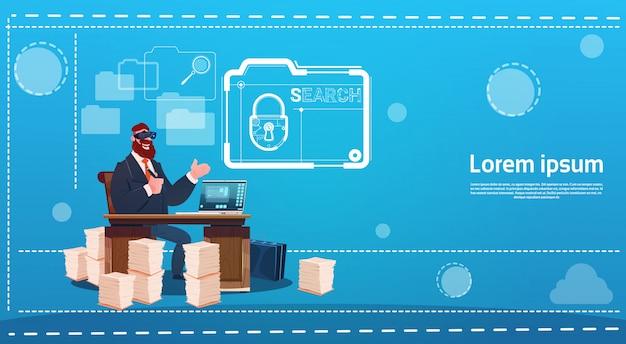 Business man wear digital virtual reality glasses sitting desk working computer lock data protection