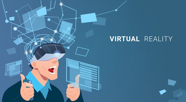 Business man wear virtual reality digital glasses finance graph chart interface