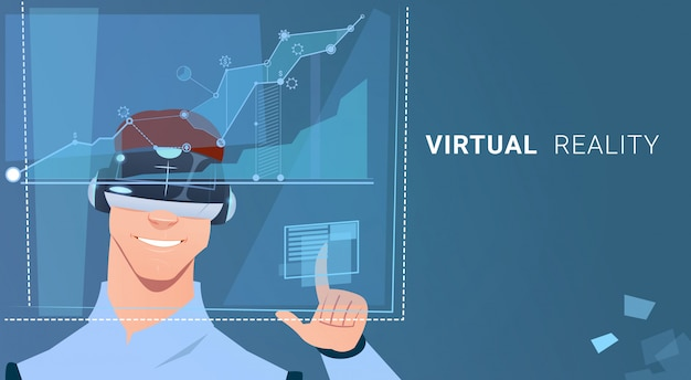 Business man wear virtual reality digital glasses finance graph chart interface