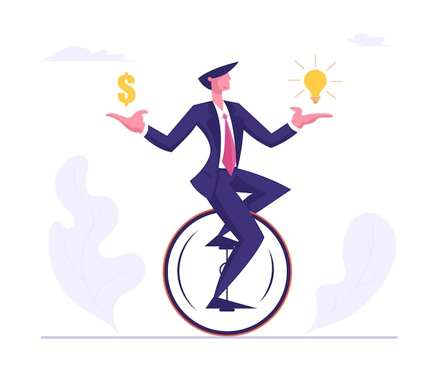 Business man wearing formal suit riding monowheel with dollar and light bulb in hands