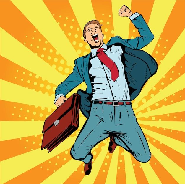 Business man the winner pop art retro vector illustration