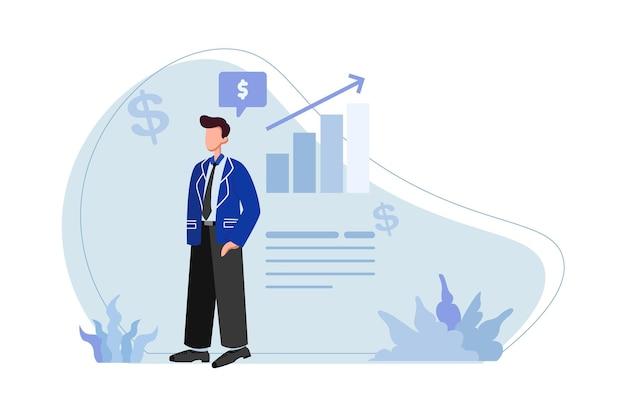 自信を持ってイラストで立っている青いブレザーを持つビジネスマン
