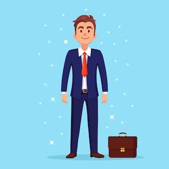 ブリーフケース、ケースを持つビジネスマン。マネージャーキャラクター、スーツを着た起業家