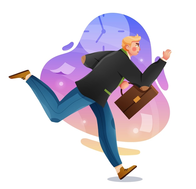Business man with briefcase running fast late business person rushing in a hurry to get on time