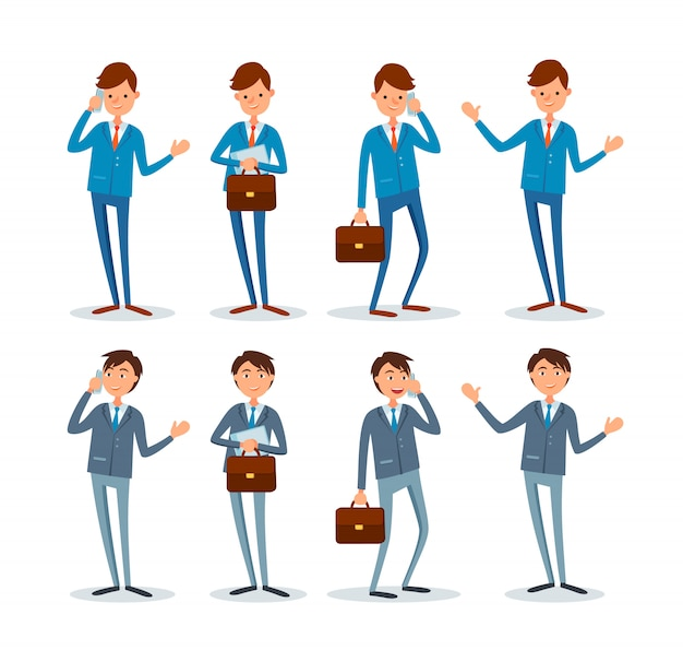 Business man with briefcase set of poses, emotions