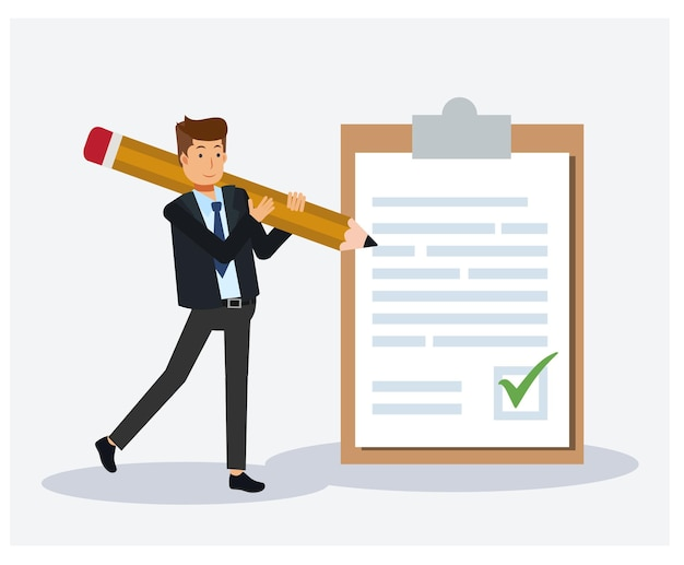 Business man with a giant pencil on his shoulder nearby marked paper on a clipboard paper. successful completion of business agreement. flat illustration.