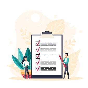 Business man with giant pencil nearby marked checklist on a clipboard paper. successful completion of tasks. flat vector illustration.