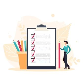 Деловой человек с гигантским карандашом рядом отметил контрольный список на бумаге сзажимом для бумаги. успешное выполнение задач. плоские векторные иллюстрации.