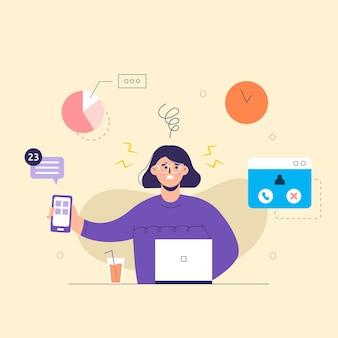 멀티 작업 새로운 아이디어를 다루는 긴 머리를 가진 비즈니스 사람. 노트북에서 작업. 비즈니스 목표, 성공, 만족스러운 성취의 개념.
