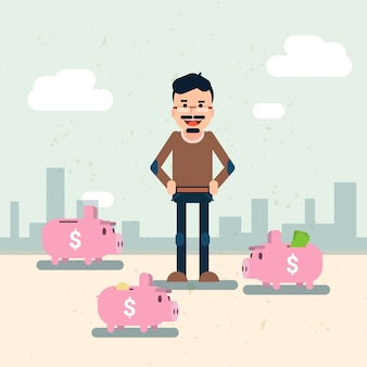 Business man with many piggy banks put money savings