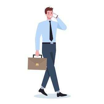 携帯電話を持つビジネスマン。スマートフォンを保持しているスーツの男性キャラクター。