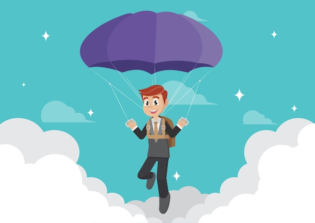 Business man with parachute.