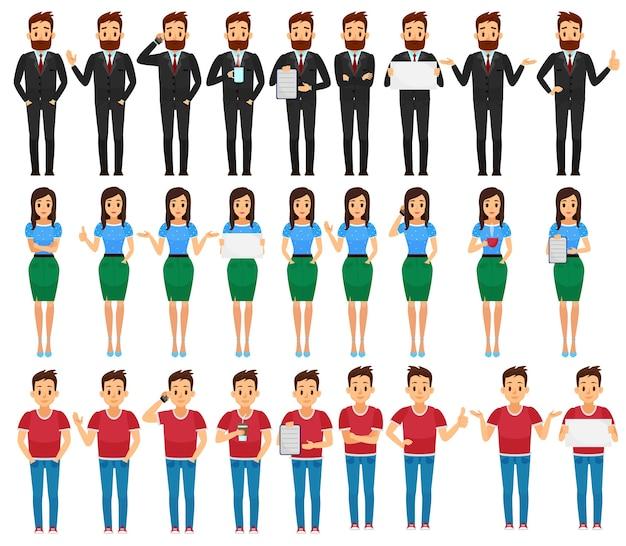 さまざまなポーズのイラストでビジネスの男性、女性、若い男